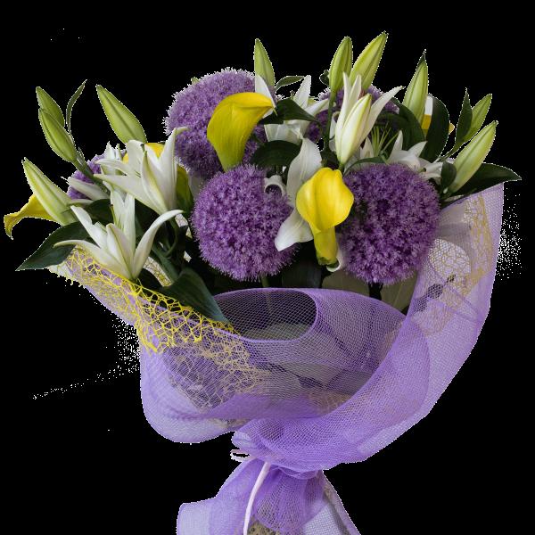 Bouquet allium lilium calle