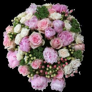 Bouquet peonie rose ed iperico