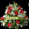 Composizione Anthurium rosso e lilium bianco