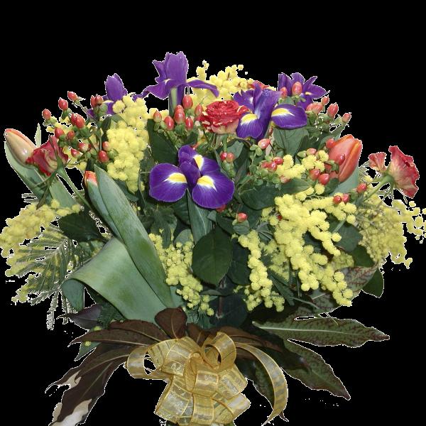 mazzo fiori di stagione con mimosa