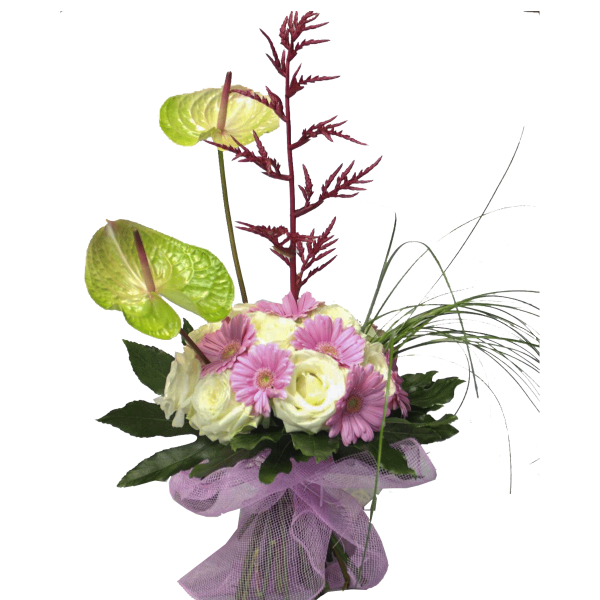 Mazzo susy con anthurium roselline