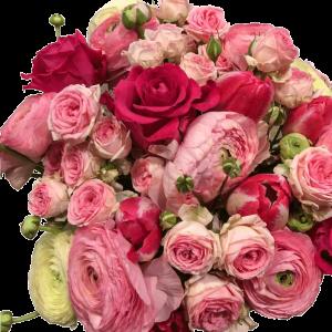 Bouquet ranuncoli rose tulipani