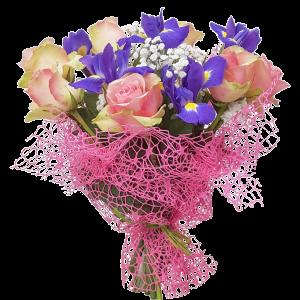 Mazzo iris rose e gissofila